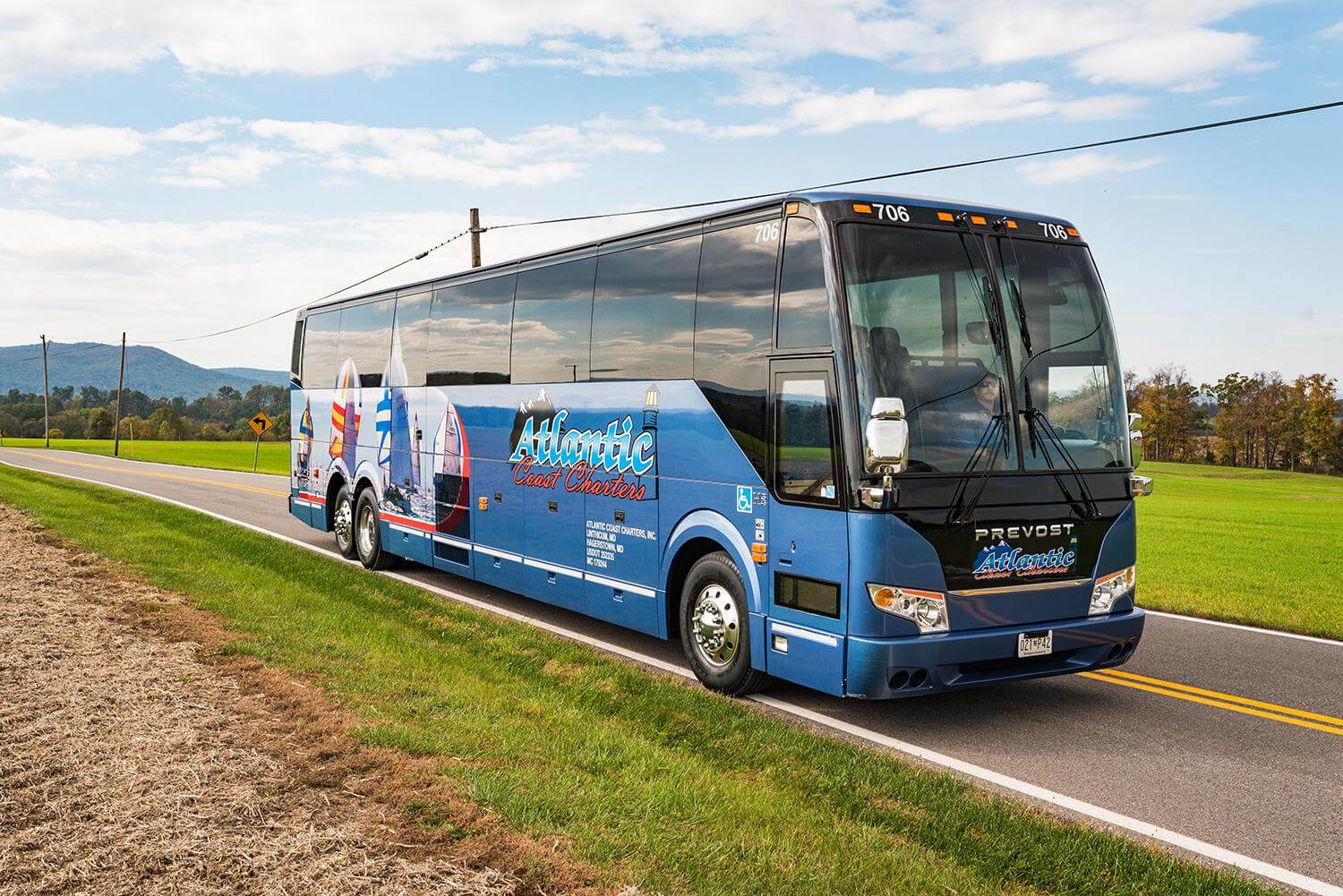 atlantic coast charter bus on the road