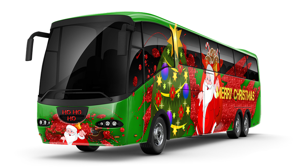 Christmas themed charter bus