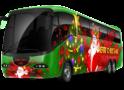 Christmas themed charter bus